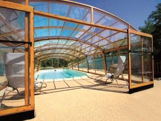 Swimming pool enclosure Venezia with wood imitation - front view