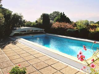 Stumdama baseino uždanga ELEGANT NEO švarus baseinas ir pilnai naudojamas