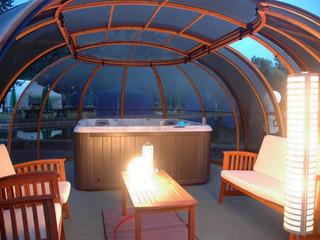 Masažinių vonių uždengimas SPA SUNHOUSE -saulės kambario idėja