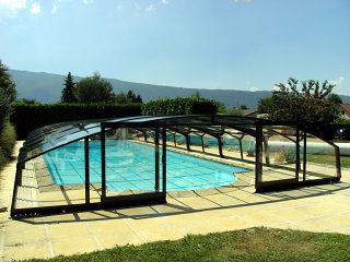 Telescopische Zwembadoverkapping VENEZIA - Antraciet uitvoering