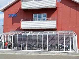 Telescopische terras overkapping CORSO Horeca - laat uw klanten van het terras genieten ondanks de weersomstandigheden