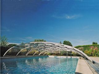 Zwembad overkapping ELEGANT NEO witte uitvoering