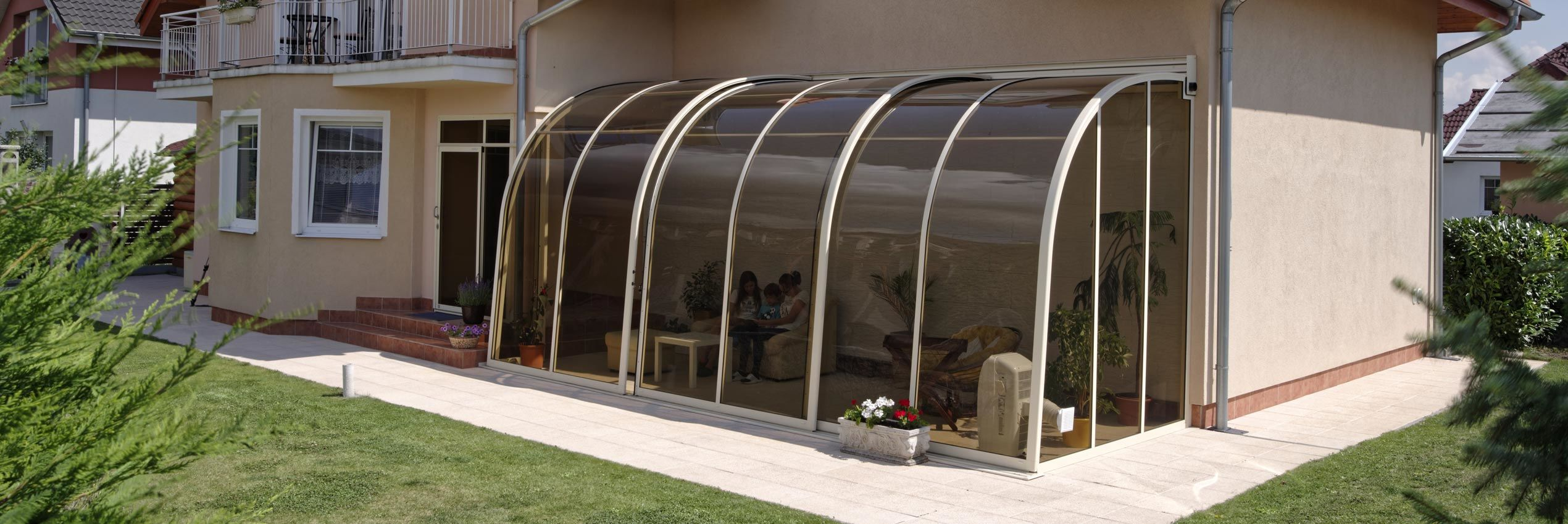 Closed patio enclosure Corso entry