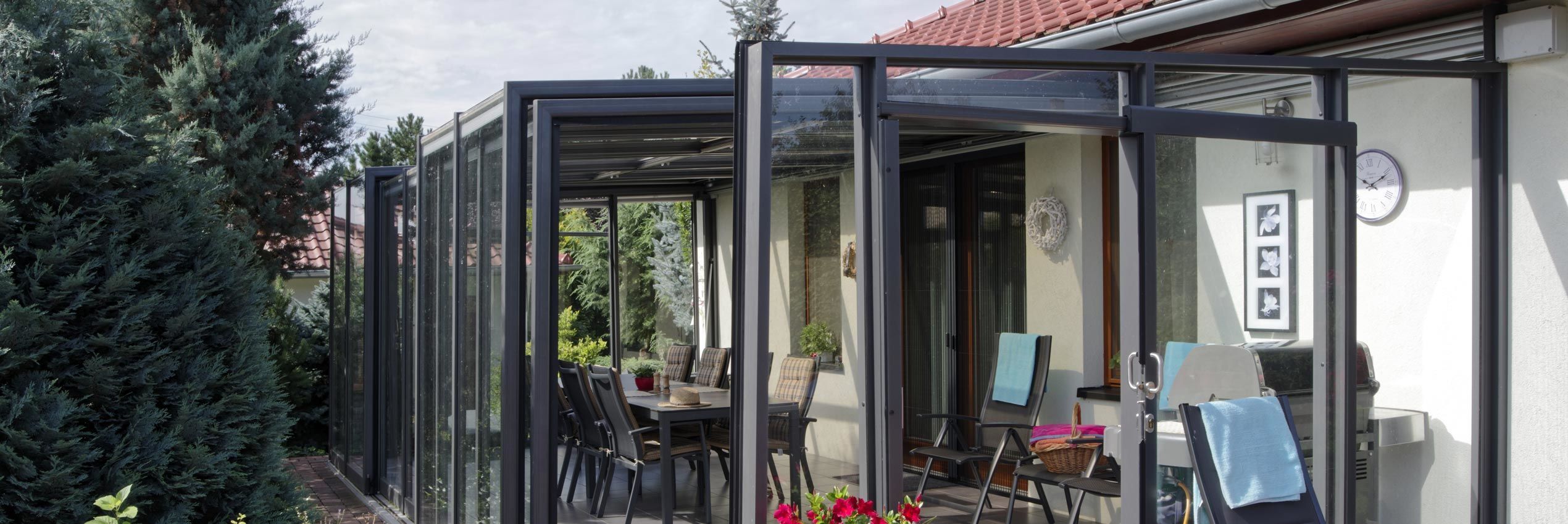 Semi opened patio enclosure Corso glass
