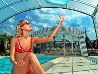 Enjoying of summer under pool enclosure Ravena with silver finish