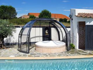 Dark filling used on hot tub enclosure OASIS
