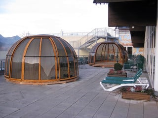 Spa pool enclosure SPA DOME ORLANDO is used in mountain resorts