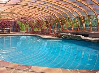 Large pool enclosure Laguna NEO with wood imitation finish