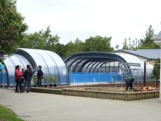 New enclosure for school swimming pool from South Pacific Pool Enclosures