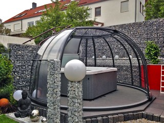Opened hot tub enclosure SPA Dome Orlando in anthracite color