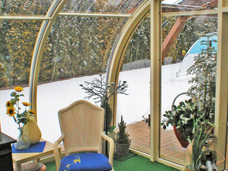 In winter you can use patio enclosure CORSO Entry as a storage for patio furniture or easy going plants