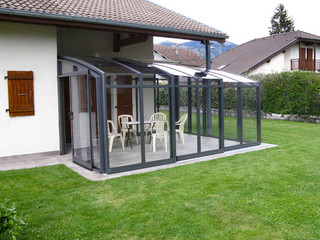 Patio enclosure CORSO Solid greatly increases thermal insulation of near wall of the house