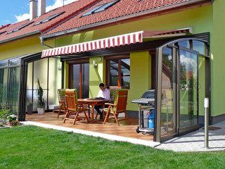 Patio enclosure CORSO can be used as storage for patio furniture or flowers
