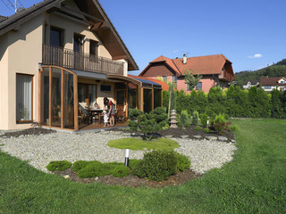 Veranda enclosure CORSO in wood-like finish