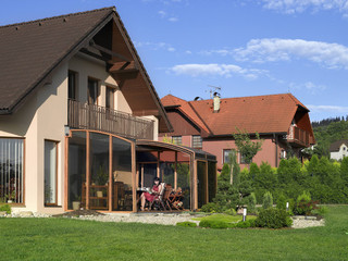Fully opened terrace enclosure CORSO - wood-like finish