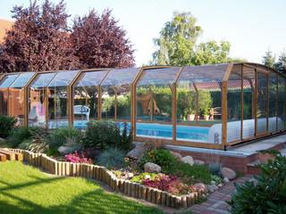 Popular woodlike imitation used on swimming pool enclosure OCEANIC