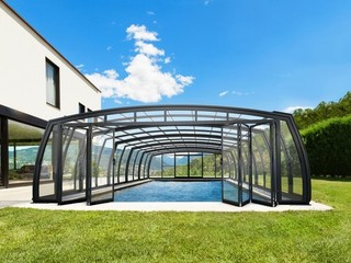 Pool enclosure OMEGA - advanced system of front facing wall doors