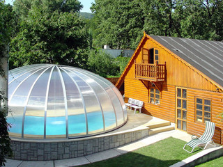 Oval pool enclosure ORIENT over round pool - silver
