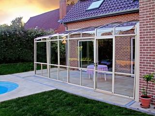 Retractable patio enclosure CORSO Premium with beige finish