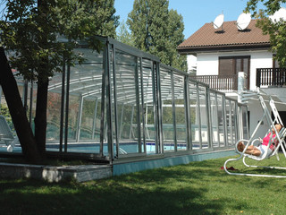 Popular anthracite imitation used on frames of pool cover VENEZIA