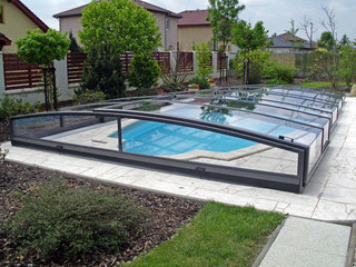 Dark aluminium frames used on construction of pool enclosure VIVA