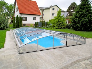 Retractable swimming pool enclosure Imperia NEO light in white color