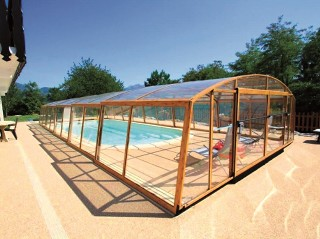 Retractable swimming pool enclosure Venezia with wood imitation finish