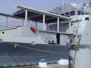 Roof enclosure on navy ship in India in harbour