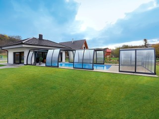 Semi opened pool enclosure Omega with anthracite finish