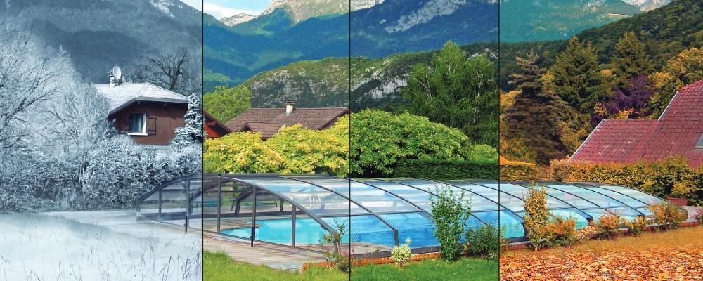 Zadaszenie basenowe - cztery pory roku