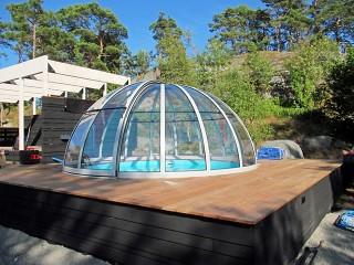 Przesuwne zadaszenie basenowe Orient - wykończenie w kolorze srebrnym