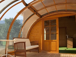 Widok wnętrza zabudowy wanny spa Oasis przylegającego do drewnianego domku - profile imitujące drewno