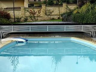 Niskie zadaszenie basenowe CORONA z otwartą wentylacją w celu osuszenia