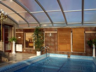 Zadaszenie basenowe ELEGANT okrywa dach tej pięknej basenowej przestrzeni