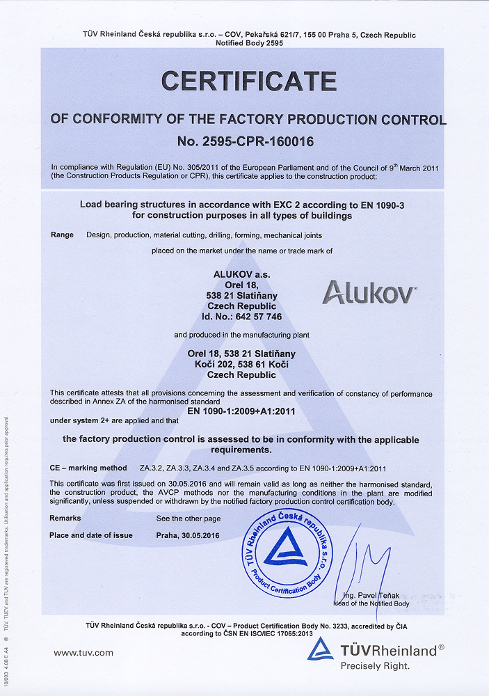Ce certificate for alukov pool spa and patio enclosures