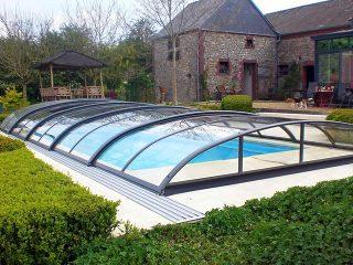 Acoperire piscina Azure Flat Compact cu prelungire sina