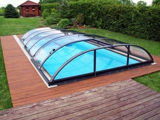 Acoperire piscina Azure Flat Compact cu usa laterala glisanta