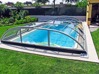 Acoperire piscina Azure Flat Compact profile culoare antracit