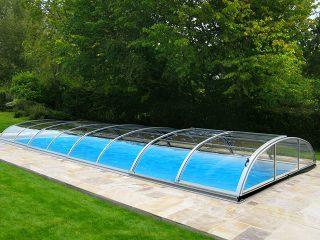Acoperire piscina Azure Flat Compact profile culoare argintiu