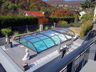 Acoperire piscina Azure Flat Compact vedere de sus