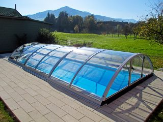 Acoperire piscina Azure Uni Compact profile argintii