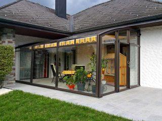Acoperire retractabila pentru terasa CORSO Premium vitrare Panorama