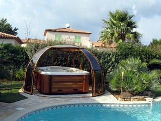 SPA DOME ORLANDO - tak till spa med profil i träimitation,  från Termatec