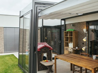 Fully retracted patio enclosure Corso ultima