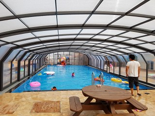 Inside view of swimming pool enclosure Oceanic high in anthracite color