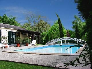Opened pool enclosure Imperia NEO with white finish