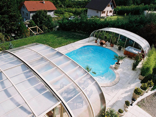 High pool cover LAGUNA NEO with anthracite frames