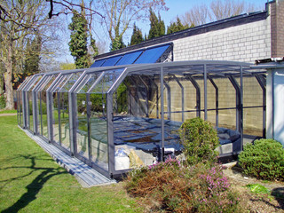 White frames of pool enclosure OCEANIC