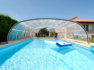 Wood-like imitation look of swimming pool enclosure OLYMPIC