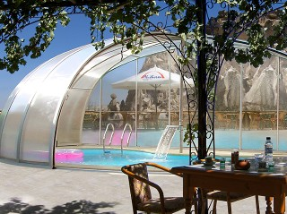 Retractable pool enclosure Orient - silver finish